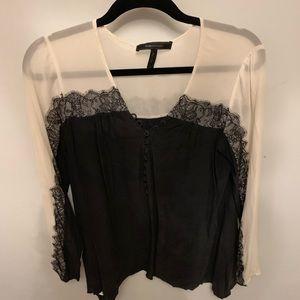 Sheer long sleeve lace shirt